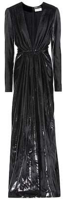 Saint Laurent Metallic velvet dress