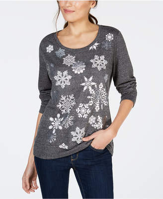 Style&Co. Style & Co Petite Snowflake Graphic-Print Sweatshirt