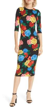 Alice + Olivia Delora Fitted Midi Dress