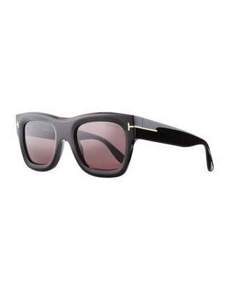 TOM FORD Wagner Thick Square Sunglasses, Black $415 thestylecure.com