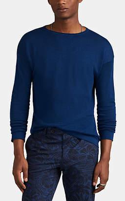 Eidos Men's Linen-Cotton Crewneck Sweater - Blue