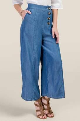francesca's Olivia Wide Leg Cropped Jeans - Medium Wash
