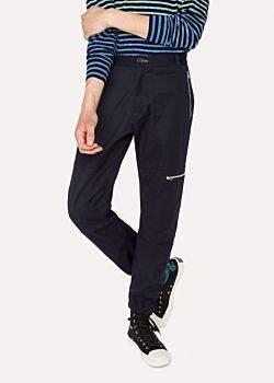 Paul Smith Men's Navy Stretch-Cotton Flight Trouser