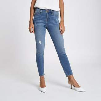 River Island Womens Petite blue Molly distressed skinny jeggings