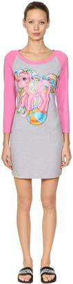 Moschino Little Pony Print Two Tone Jersey Dress