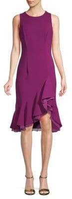 Carmen Marc Valvo Ruffled Hem Sheath Dress