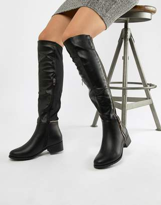 Truffle Collection Zip Detail Elastic Flat Over Knee Boot