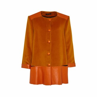 Manley Sadie Cashmere Wool and Leather Coat Orange