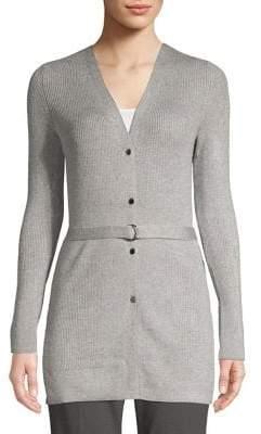 Ellen Tracy Belted Rib-Knit Cardigan