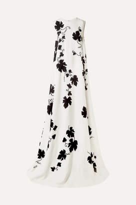 Oscar de la Renta Appliquéd Embroidered Cady Gown - Ivory