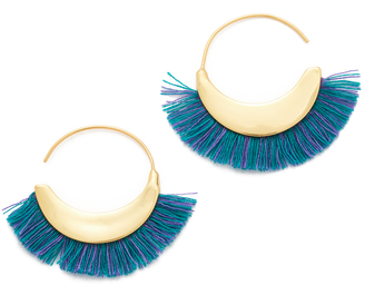 Rebecca Minkoff Thread Fringe Small Hoop Earrings $48 thestylecure.com