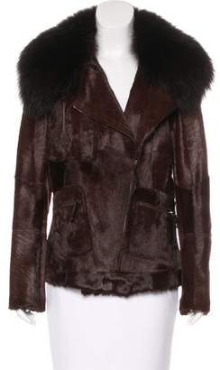 Yves Salomon Fur Zip-Up Moto Jacket