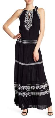 Hale Bob High Neck Embroidery Maxi Dress