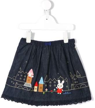 Mikihouse Miki House embroidered denim skirt