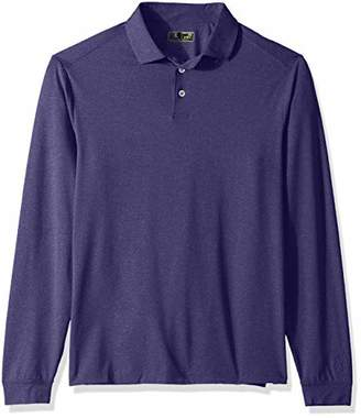 PGA TOUR Men's Heathered Ventilated Long Sleeve Self Collar Polo