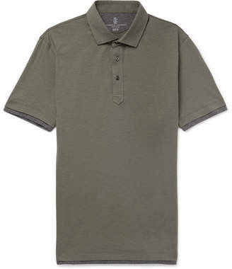 Brunello Cucinelli Layered Slub Cotton Polo Shirt - Men - Army green