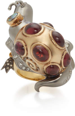 Sylvie Corbelin Lucky Snail 18K Gold Oxidized Silver Garnet and Diamond Ring