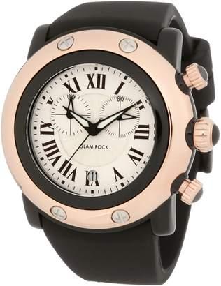 Glam Rock Women's Miami Beach Chronograph Silver Dial Black Silicone Watch GLAMROCK-GW25130