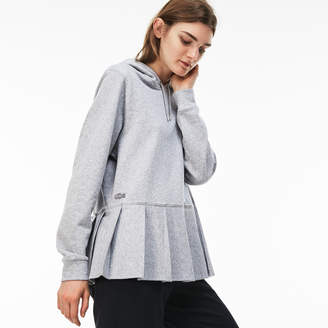 Lacoste Women's Hooded Pleated Fleece Sweatshirt
