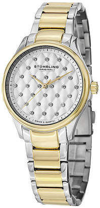 Stuhrling Original Sthrling Original Womens Crystal-Accent Two-Tone Stainless Steel Watch