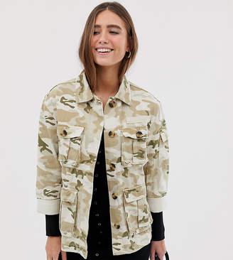 Bershka natural camo army jacket in beige
