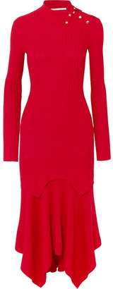 Stella McCartney Asymmetric Ribbed Wool And Silk-blend Dress - Red