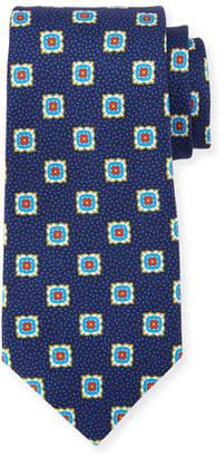 Kiton Fancy Medallion Silk Tie, Navy