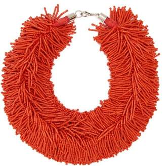 Vanda Jacintho - Shower Bead Embellished Necklace - Womens - Orange