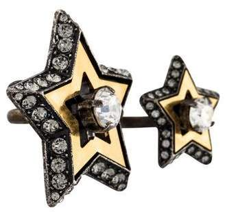 Lanvin Crystal Double Star Cocktail Ring
