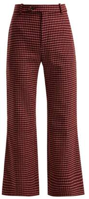 Chloé Checked Wool Blend Flared Trousers - Womens - Black Red