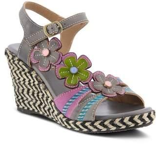 L'ARTISTE Rhianna Flower Applique Wedge Sandal