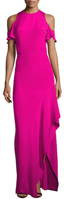 Theia Cold-Shoulder Silk Crepe Column Gown, Pink $895 thestylecure.com