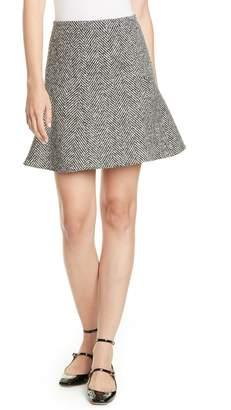 RED Valentino Herringbone Tweed Flounce Skirt