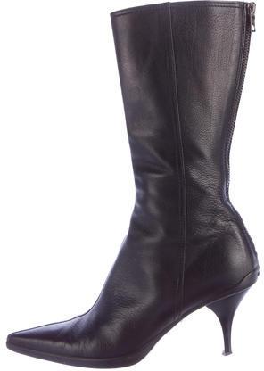 Miu MiuMiu Miu Leather Pointed-Toe Boots