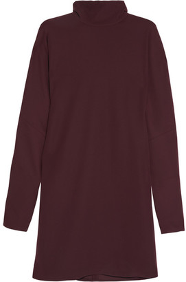 McQ Alexander McQueen - Crepe De Chine Turtleneck Mini Dress - Merlot $480 thestylecure.com