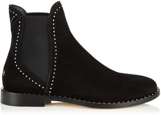 Jimmy Choo MERRIL FLAT Black Suede Ankle Boots with Silver Micro Stud Detailing
