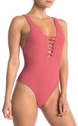 Free Press Gigi Ribbed Lace-Up One-Piece Swimsuit