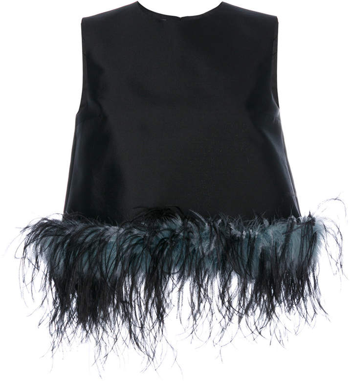 Prada feather-trimmed blouse