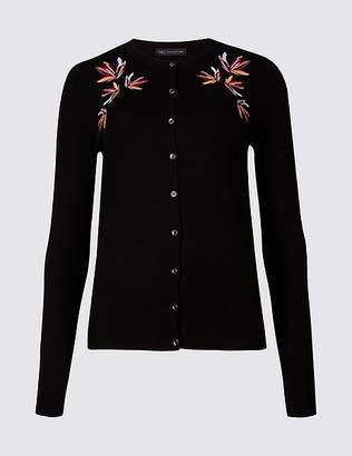 Marks and Spencer Embroidered Round Neck Long Sleeve Cardigan