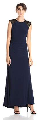 JS Boutique Women's Stud Beaded Shoulders and Open Back Jersey Gown