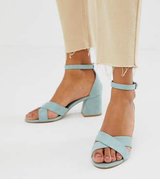 ecde09d7a1b Pull Bear block heel sandal with cross front in pale blue