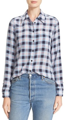 Women's Equipment Brett Plaid Silk Shirt $258 thestylecure.com