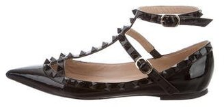 Valentino Rockstud Ankle-Strap Flats $595 thestylecure.com