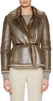 Giorgio Armani Metallic Belted Shearling Fur Jacket