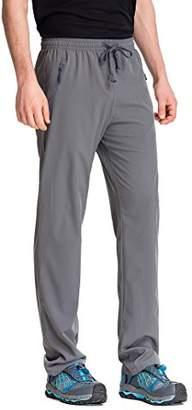 Co Trailside Supply Men's Light Weight Stretch Elastic-Waist Drawstring Track Running Gym Pants