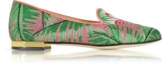 Charlotte Olympia Flamingo Embroidered Canvas Slippers W/Leather Trim