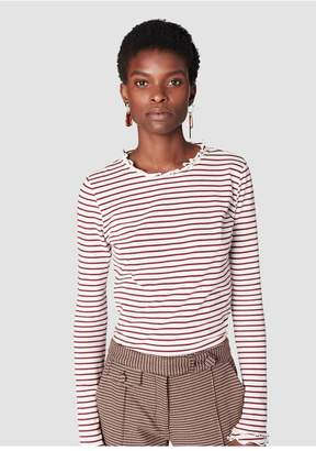 Derek Lam 10 Crosby Long Sleeve Fitted Tee With Ruffle Neck