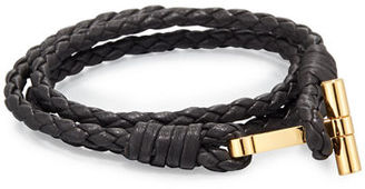 TOM FORD Men's Leather Braided Wrap T Bracelet $450 thestylecure.com