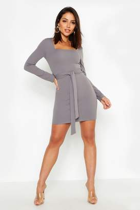 boohoo Long Sleeve Belted Bodycon Dress