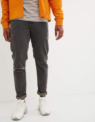 Asos DESIGN 12.5oz tapered jeans in gray